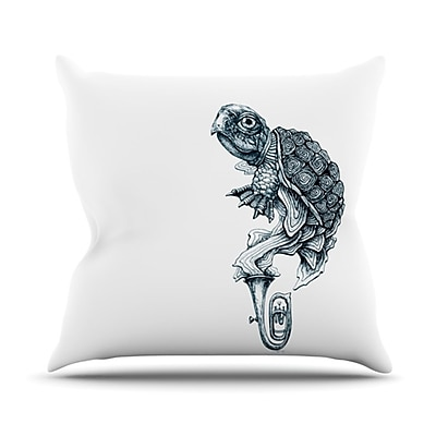 KESS InHouse Turtle Tuba Throw Pillow; 26'' H x 26'' W x 5'' D