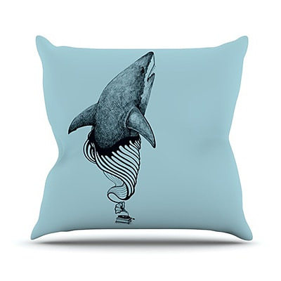 KESS InHouse Shark Record II Throw Pillow; 20'' H x 20'' W x 4.5'' D