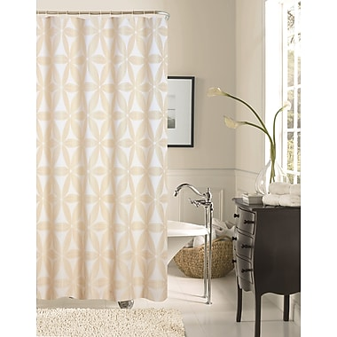 Dainty Home Iris Fabric Shower Curtain; Ivory