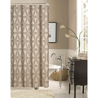 Dainty Home Iris Fabric Shower Curtain; Taupe