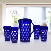 Immanuel Dots 5 Piece Pitcher Set; Navy Blue