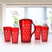 Immanuel Dots 5 Piece Pitcher Set; Ruby Red