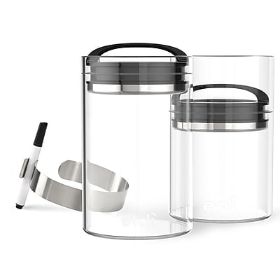 Prepara Evak Compact 24 Oz. Food Storage Container (Set of 2); Gloss Black