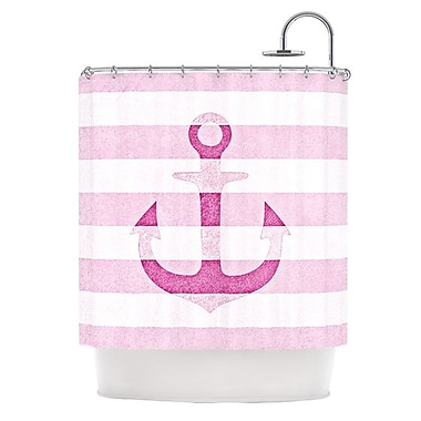KESS InHouse Stone Vintage Anchor Shower Curtain; Pink