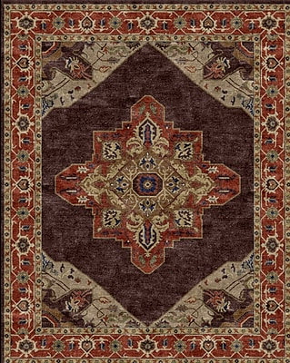 Due Process Stable Trading Co Heriz Hand-Tufted Chocolate Area Rug; Rectangle 5' x 8'