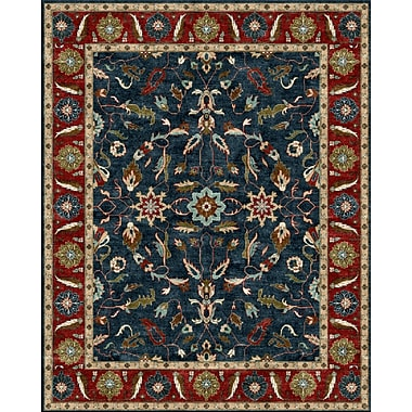 Due Process Stable Trading Co Agra Hand-Tufted Blue/Burgundy Area Rug; Rectangle 8'6'' x 11'6''