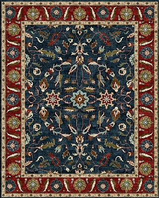 Due Process Stable Trading Co Agra Hand-Tufted Blue/Burgundy Area Rug; Rectangle 2'6'' x 4'
