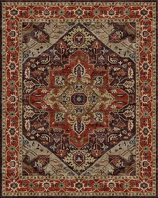 Due Process Stable Trading Co Heriz Hand-Tufted Chocolate Area Rug; Rectangle 8'6'' x 11'6''
