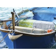 Graffitee Studios General Coastal 'Blue Boat' Photographic Print on Wrapped Canvas