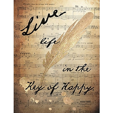 Graffitee Studios Typography 'Live Life in the Key of Happy' Graphic Art on Wrapped Canvas