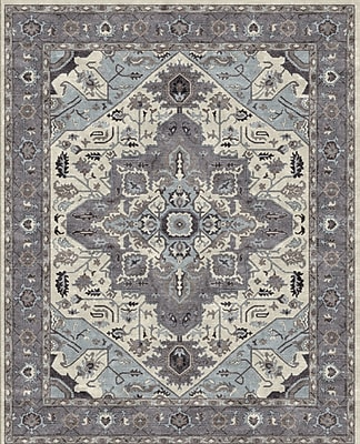 Due Process Stable Trading Co Heriz Hand-Tufted Sand/Pearl Area Rug; Round 12'