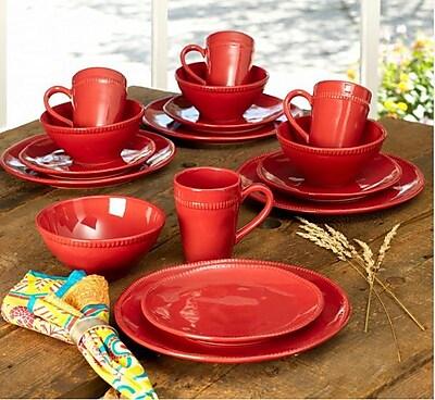 Euro Ceramica Al Garve 16 Piece Dinnerware Set, Service for 4; Red