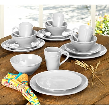 Euro Ceramica Al Garve 16 Piece Dinnerware Set, Service for 4; White