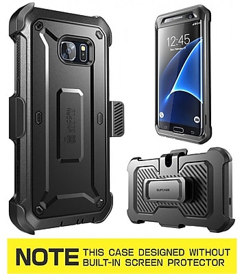 SUPCASE Unicorn Beetle Pro Series Fullbody Protection Case with Screen Protector & Holster for Samsung Galaxy S7 Edge, Black