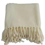 De Moocci Soft Fringe Throw Blanket; Cream