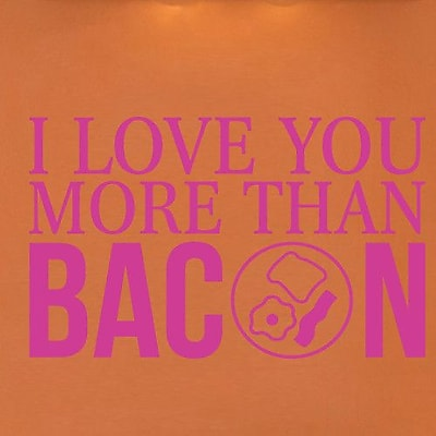 SweetumsWallDecals I Love You More than Bacon Wall Decal; Hot Pink