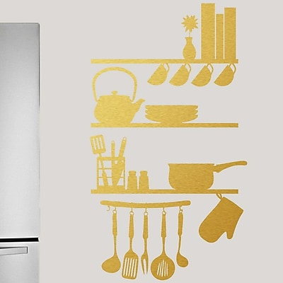 SweetumsWallDecals Kitchen Shelves Utensils Wall Decal; Gold