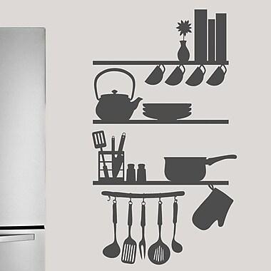SweetumsWallDecals Kitchen Shelves Utensils Wall Decal; Dark Gray