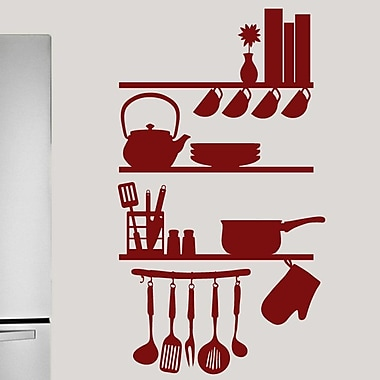 SweetumsWallDecals Kitchen Shelves Utensils Wall Decal; Cranberry