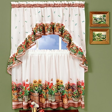 Sweet Home Collection Country Garden Valance and Tier Set