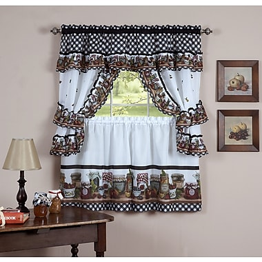 August Grove Guimauve Mason Jar Cottage Kitchen Window Treatment Set
