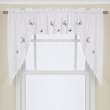 Sweet Home Collection Monarch Embroidered Butterfly Kitchen 29'' Swag Curtain Valance (Set of 2)