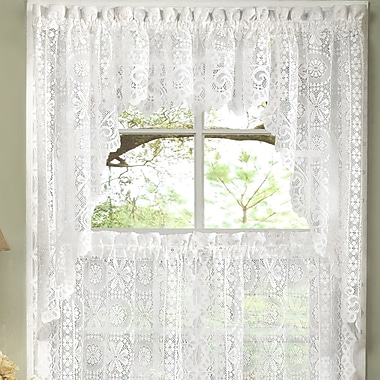 Sweet Home Collection Old World Style Floral Heavy Lace Kitchen 30'' Curtain Swag