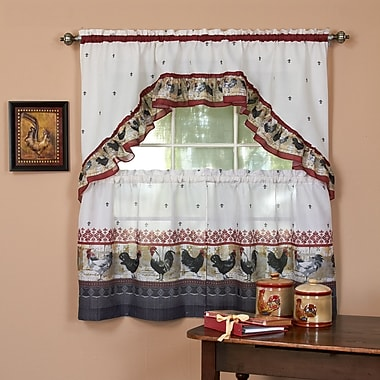 Sweet Home Collection Rooster Valance and Tier Set