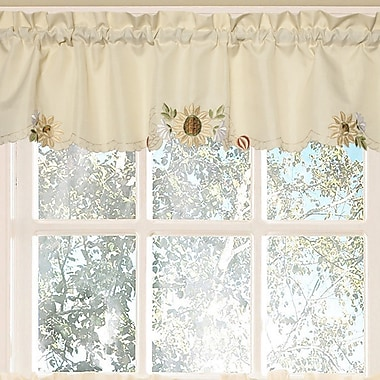 Sweet Home Collection Sunflower Embroidered Kitchen 60'' Curtain Valance