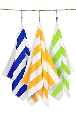 Crover Cabana Stripe 3 Piece Beach Towel Set; Assorted