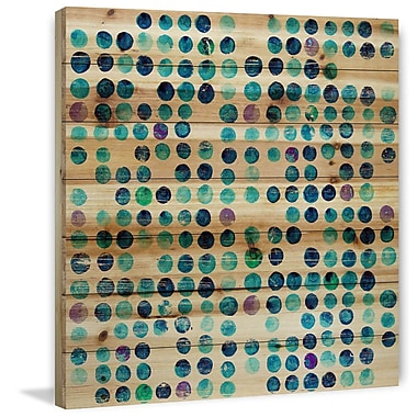 Marmont Hill 'Multi Blue Dots' Painting Print on Natural Pine Wood; 40'' H x 40'' W x 1.5'' D