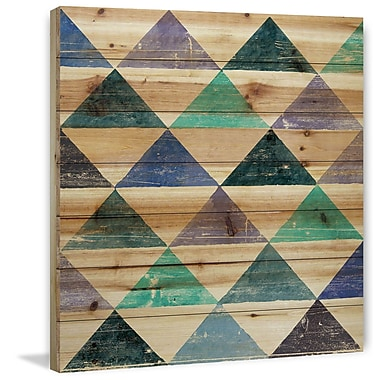 Marmont Hill 'Pastel Triangles' Painting Print on Natural Pine Wood; 24'' H x 24'' W x 1.5'' D