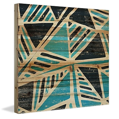 Marmont Hill 'Teal Triangles' Painting Print on Natural Pine Wood; 24'' H x 24'' W x 1.5'' D