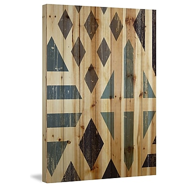 Marmont Hill 'Disconnected Diamonds' Painting Print on Natural Pine Wood; 36'' H x 24'' W