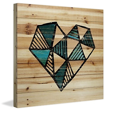 Marmont Hill 'Indigo Heart' Painting Print on Natural Pine Wood; 40'' H x 40'' W x 1.5'' D