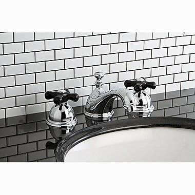 Kingston Brass Restoration Onyx Double Handle Widespread Bathroom Faucet w/ Pop-Up Drain; Chrome