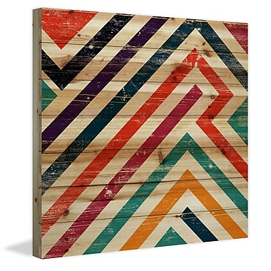 Marmont Hill 'Paths Of Color' Painting Print on Natural Pine Wood; 32'' H x 32'' W