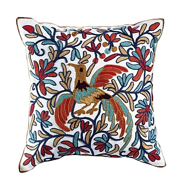 ElightHome Peacock Embroidered Cotton Throw Pillow