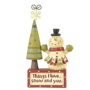 Blossom Bucket Things I Love Block w/ Snowman and Tree Figurine