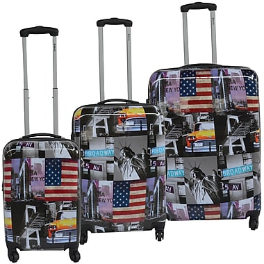 McBrine® Greenplus 3-Piece N.Y. Landmark Print Hard Sided Luggae Set, 19