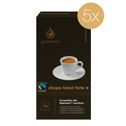 Gourmesso Coffee, Etiopia Blend Forte 5pack, 50 Nespresso compatible capsules (40304)