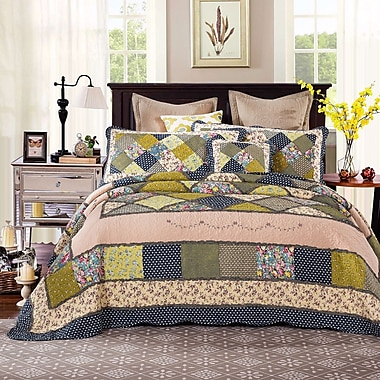 Tache Home Fashion Spring Shower Reversible Quilt Set; Cal King