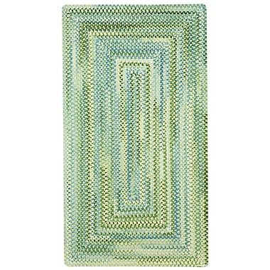 Capel Waterway Green/White Area Rug; Concentric Square 3'