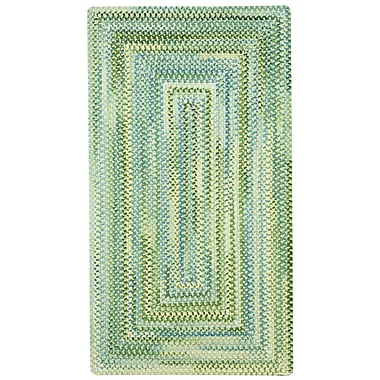 Capel Waterway Green/White Area Rug; Concentric 3' x 5'