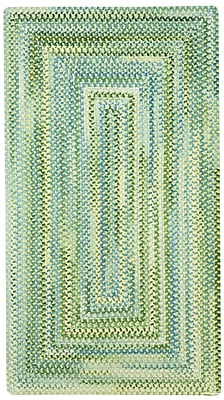 Capel Waterway Green/White Area Rug; Concentric 5' x 8'