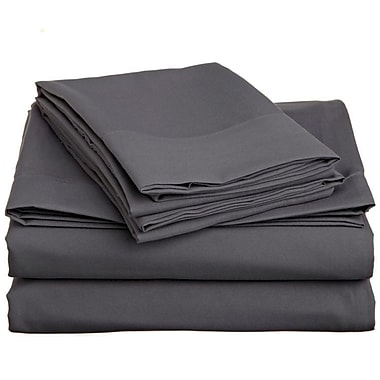 Off To Bed 1500 Thread Count Twin Sheet Set; Grey