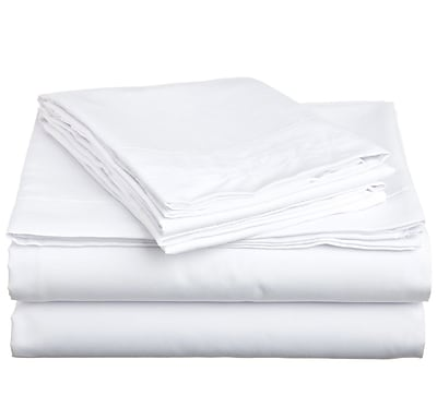 Off To Bed 1500 Thread Count 4 Piece Twin Sheet Set; White WYF078279154238