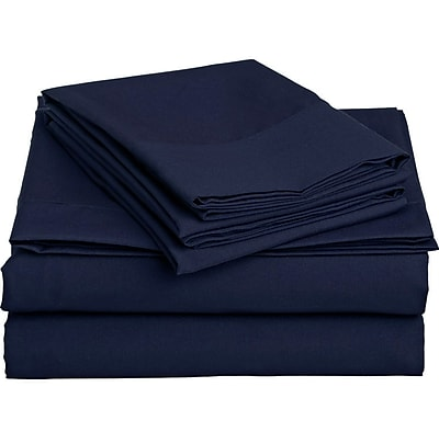 Off To Bed 1500 Thread Count 4 Piece Twin Sheet Set; Navy Blue WYF078279154240