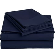 Off To Bed 1500 Thread Count Twin Sheet Set; Navy Blue