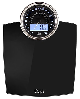 Ozeri Rev Digital Bathroom Scale w/ Electro-Mechanical Weight Dial; Black
